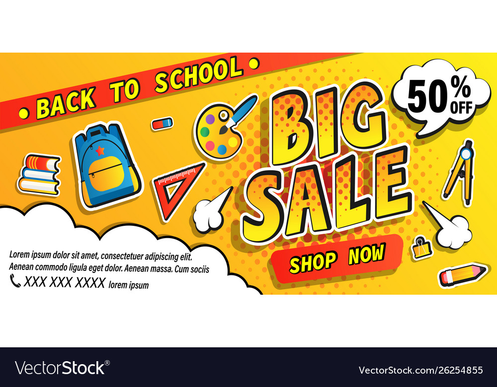 Back to school big sale bannershop now promotions