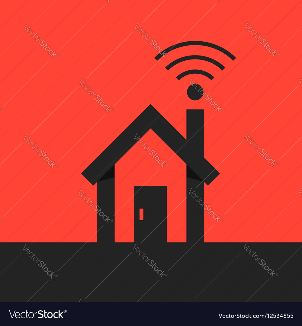 Black smart house with wifi icon on red background