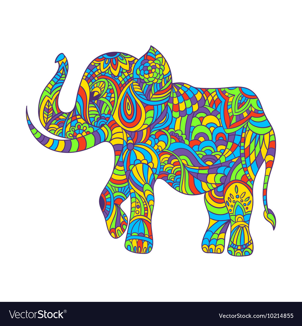 Colorful hand drawn zentagle of an elephant