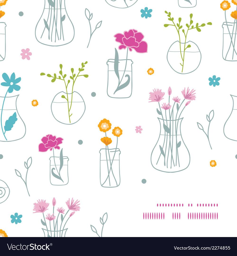 Fresh flowers in vases frame corner pattern