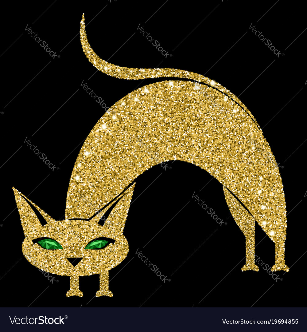 Golden cat with emerald eyes