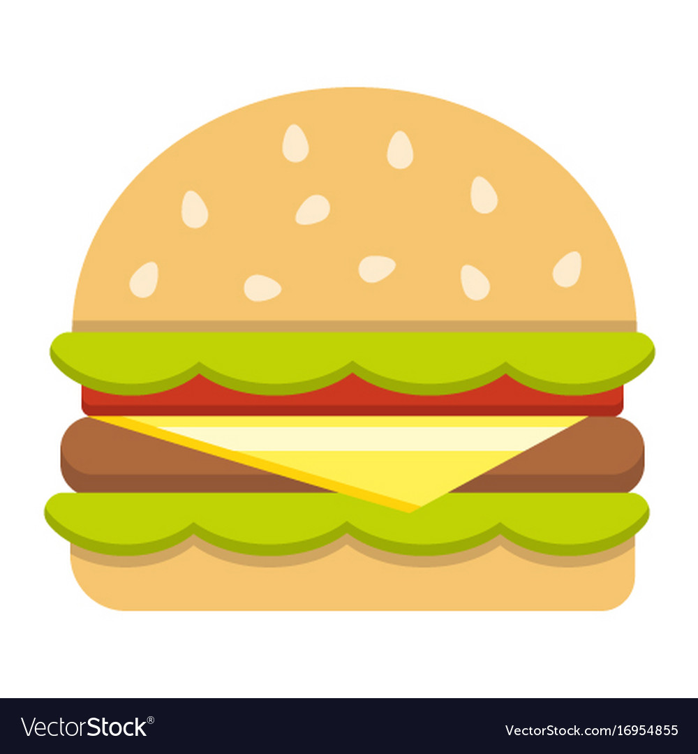 Hamburger flat icon food and drink fast food