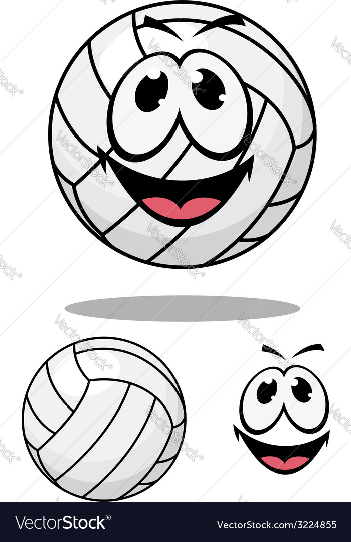 Happy cartoon volleyball