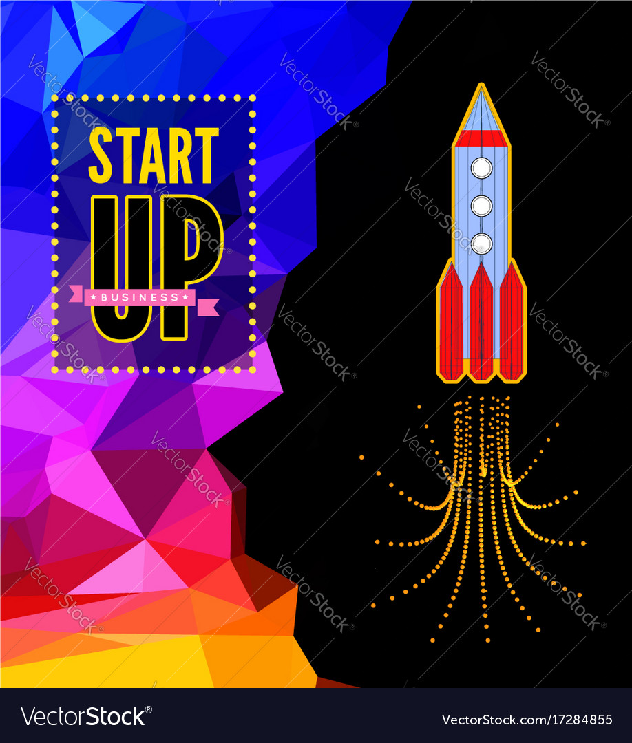 Launch of a space rocket in the drawing style