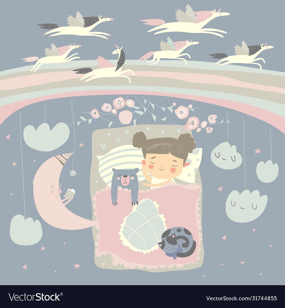Little girl sleeping with teddy bear under the