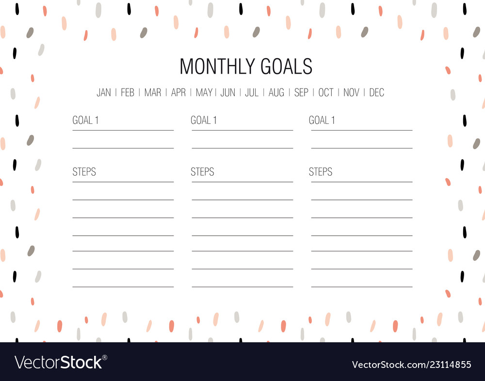 photo regarding Monthly Goals Template referred to as Regular aims template vector picture
