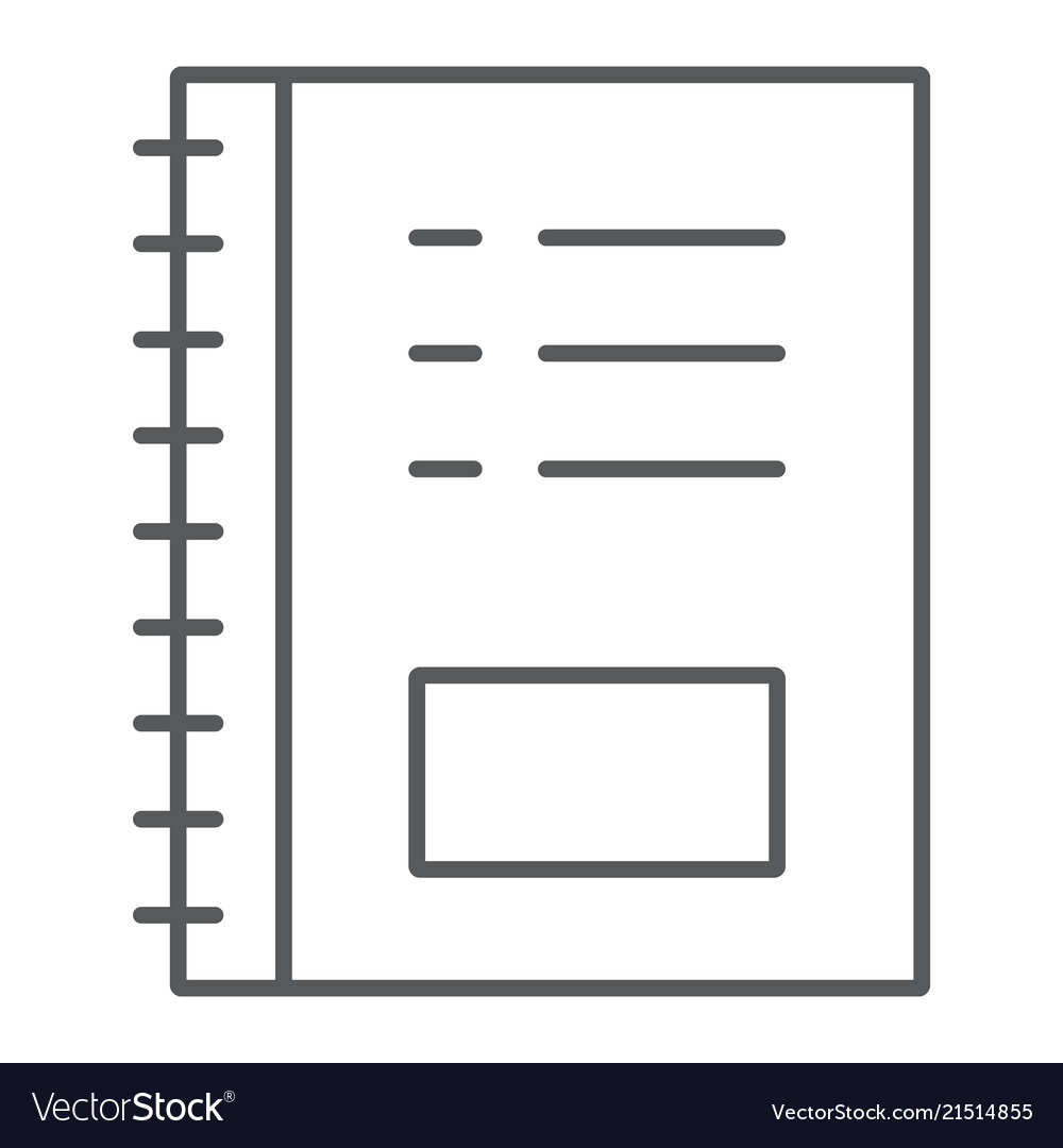 Notebook thin line icon office and school note