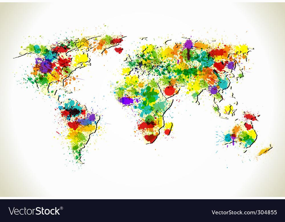 Paint splashes world map
