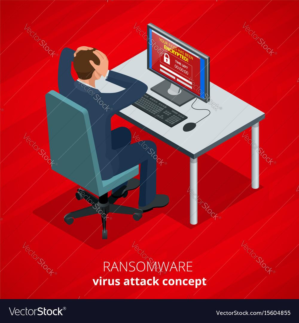 Ransomware malicious software that blocks access vector image
