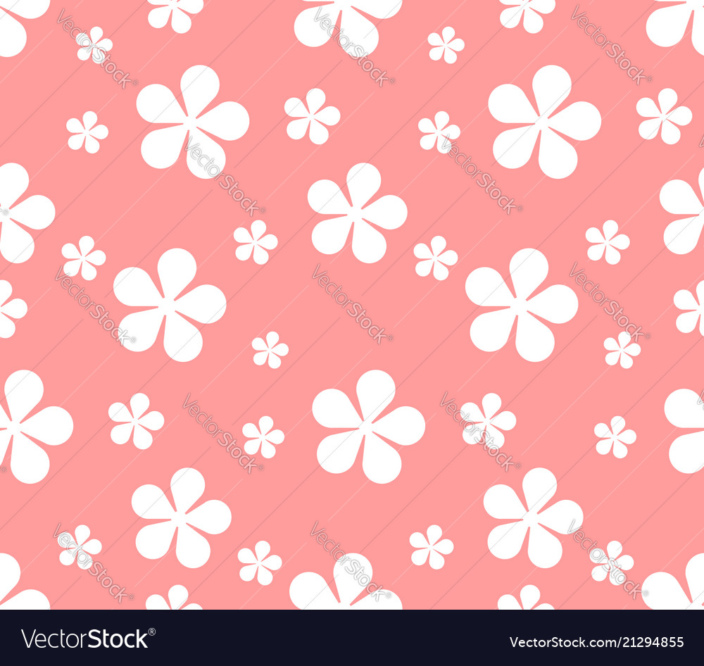 Seamless texture with flowers on pink background