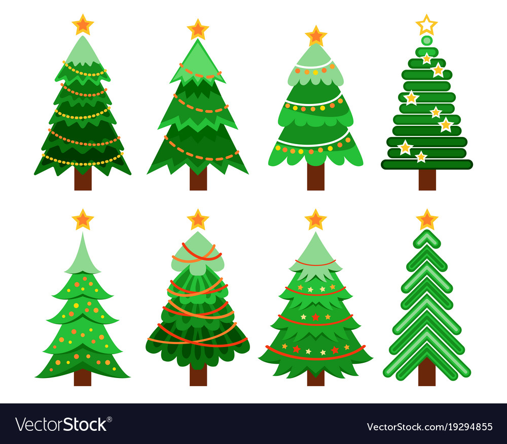 Christmas Tree Vector Image.Set Of Flat 8 Christmas Tree