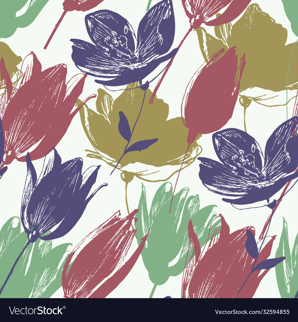 Tulip flowers seamless pattern in retro style