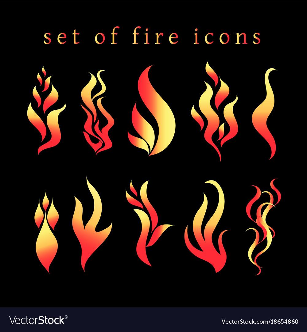 Beautiful fire icon set