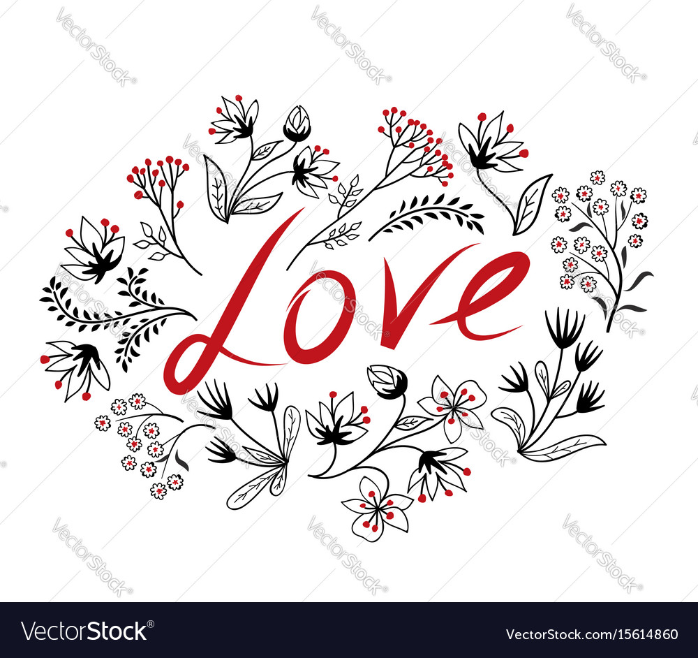 Calligraphic doodle love sign with handwritten
