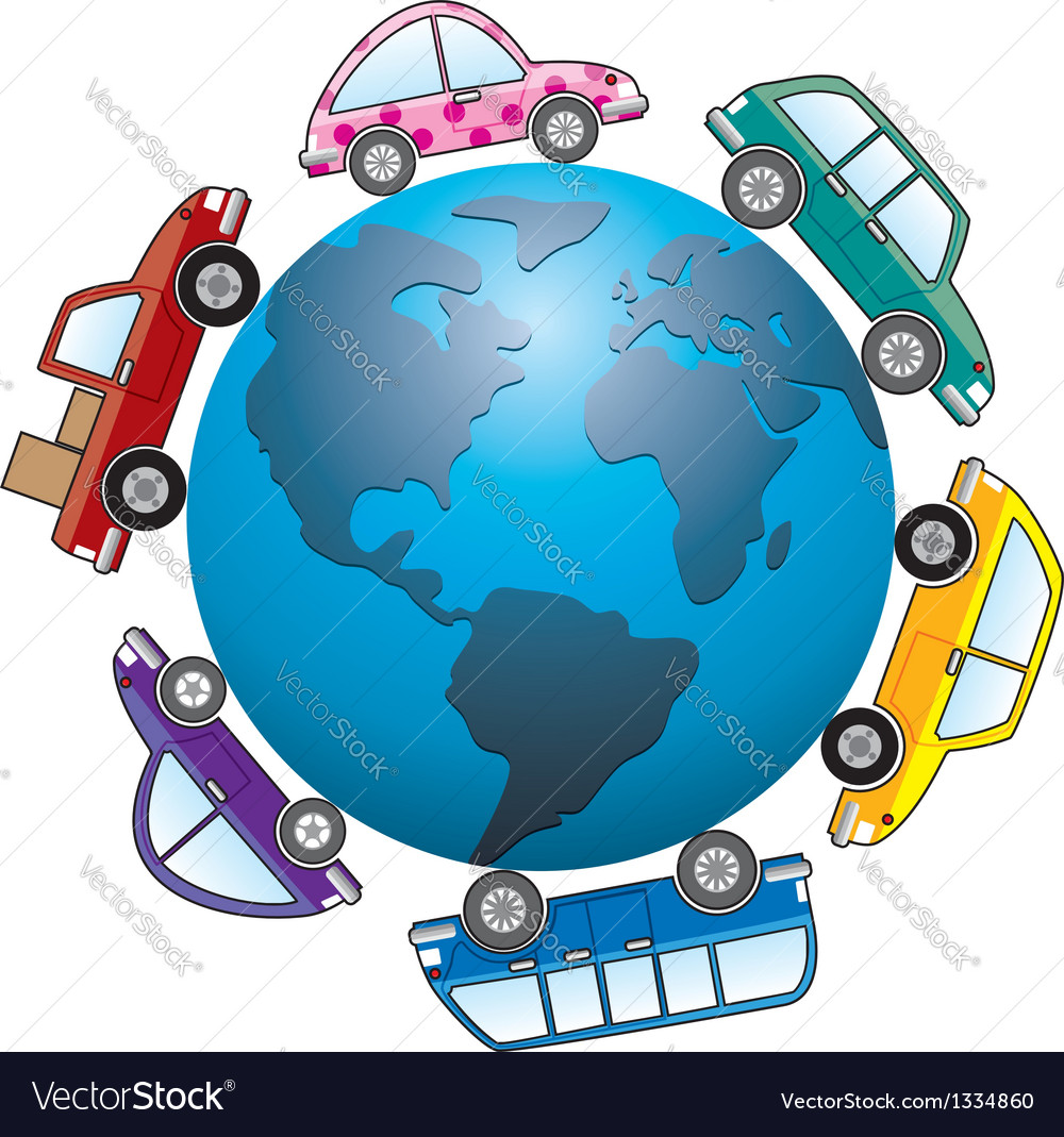 Cars around earth globe