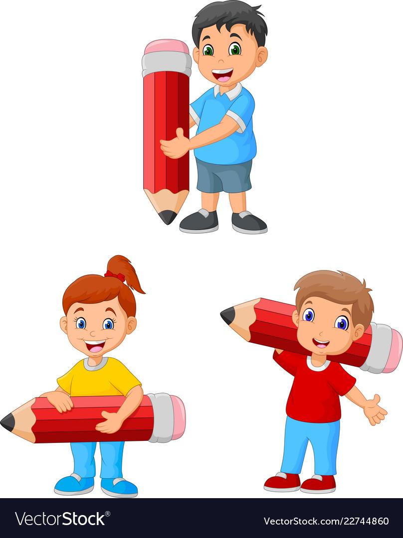 Cartoon happy kids holding big pencils