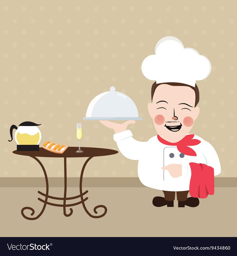 Chef at restaurant present his food dish vector image