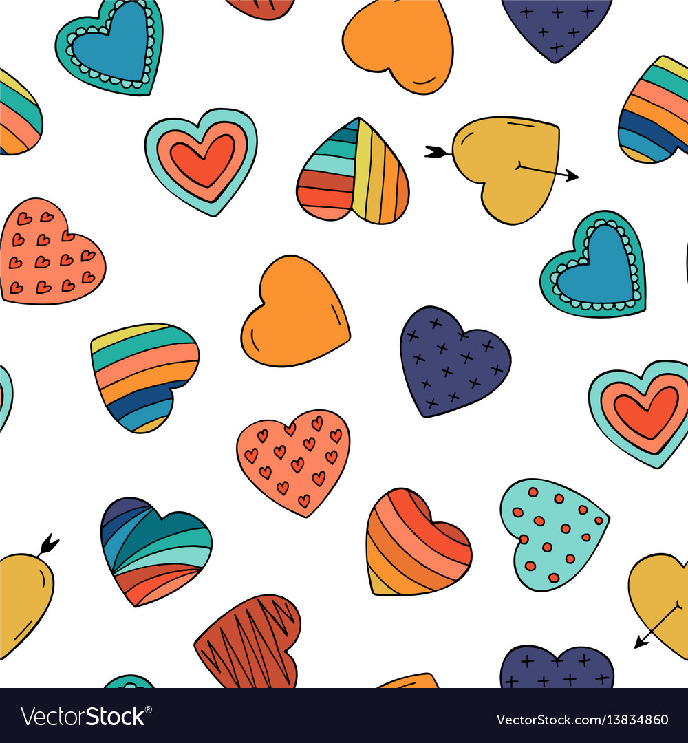 Colorful hearts - seamless hand drawn pattern