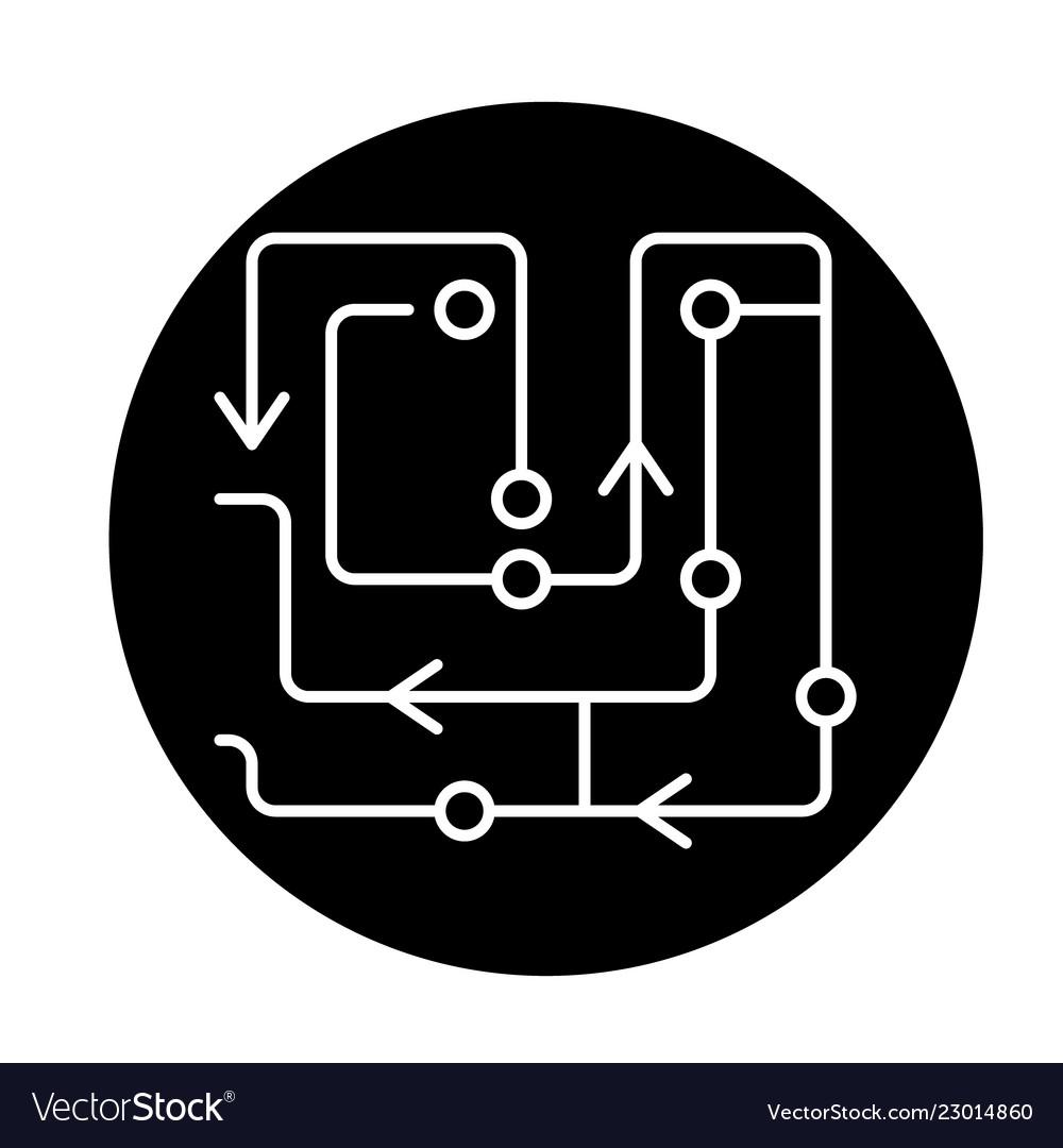Computer algorithms black icon sign on