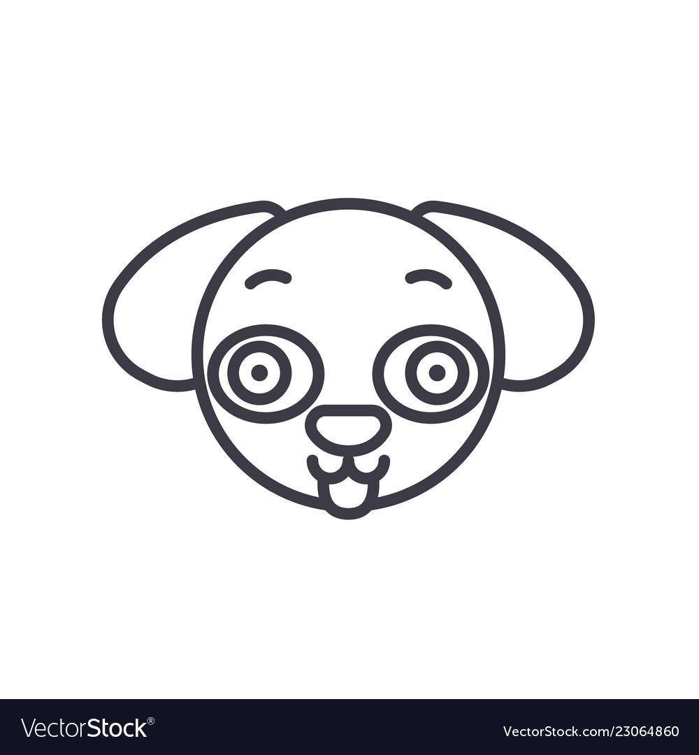 Doggy emoji concept line editable concept