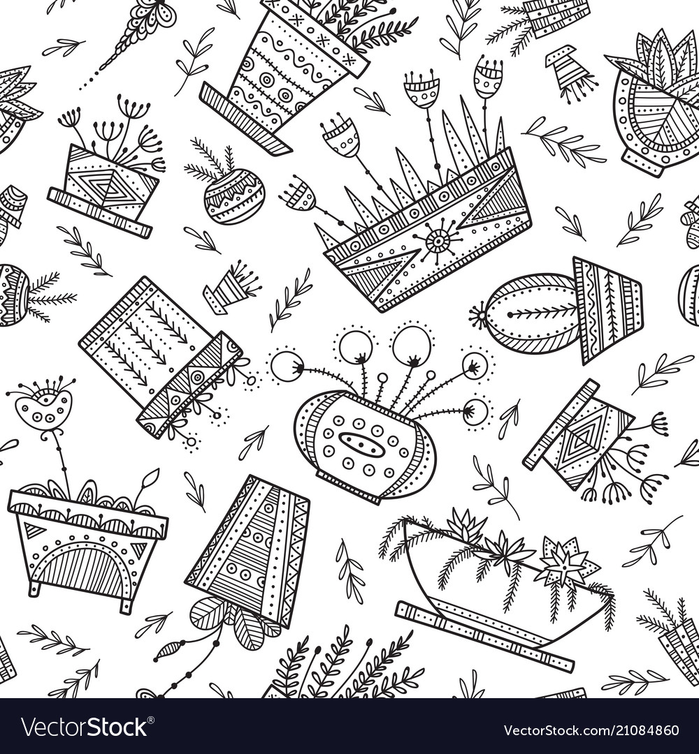 Flower pots and house plants seamless pattern in