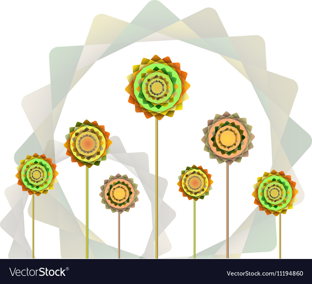 Geometric orange and green flowers background vector image