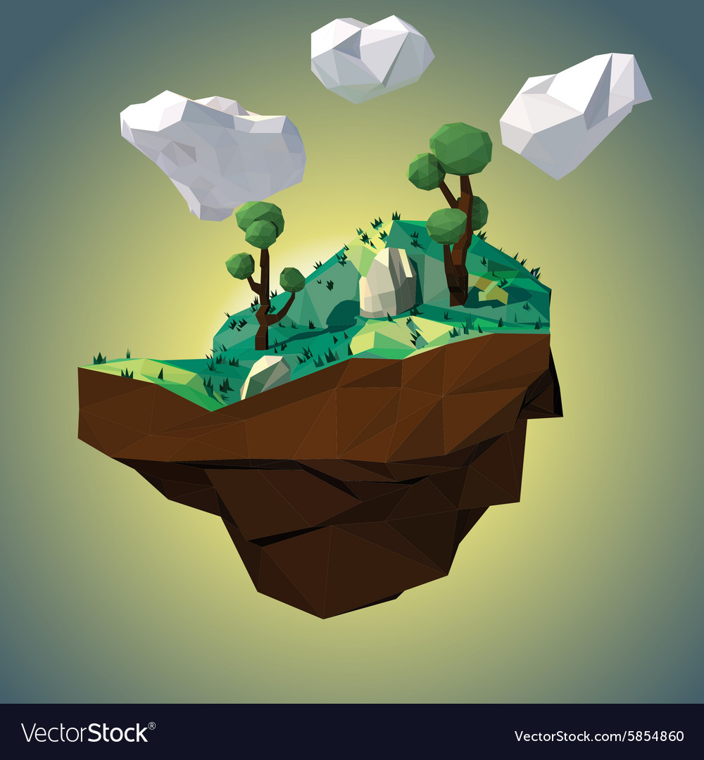 Low poly island vector image