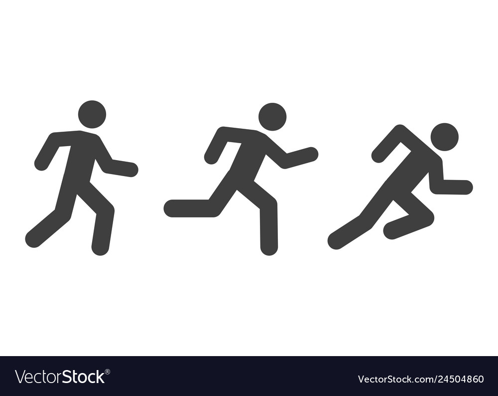 Man running icons with various style