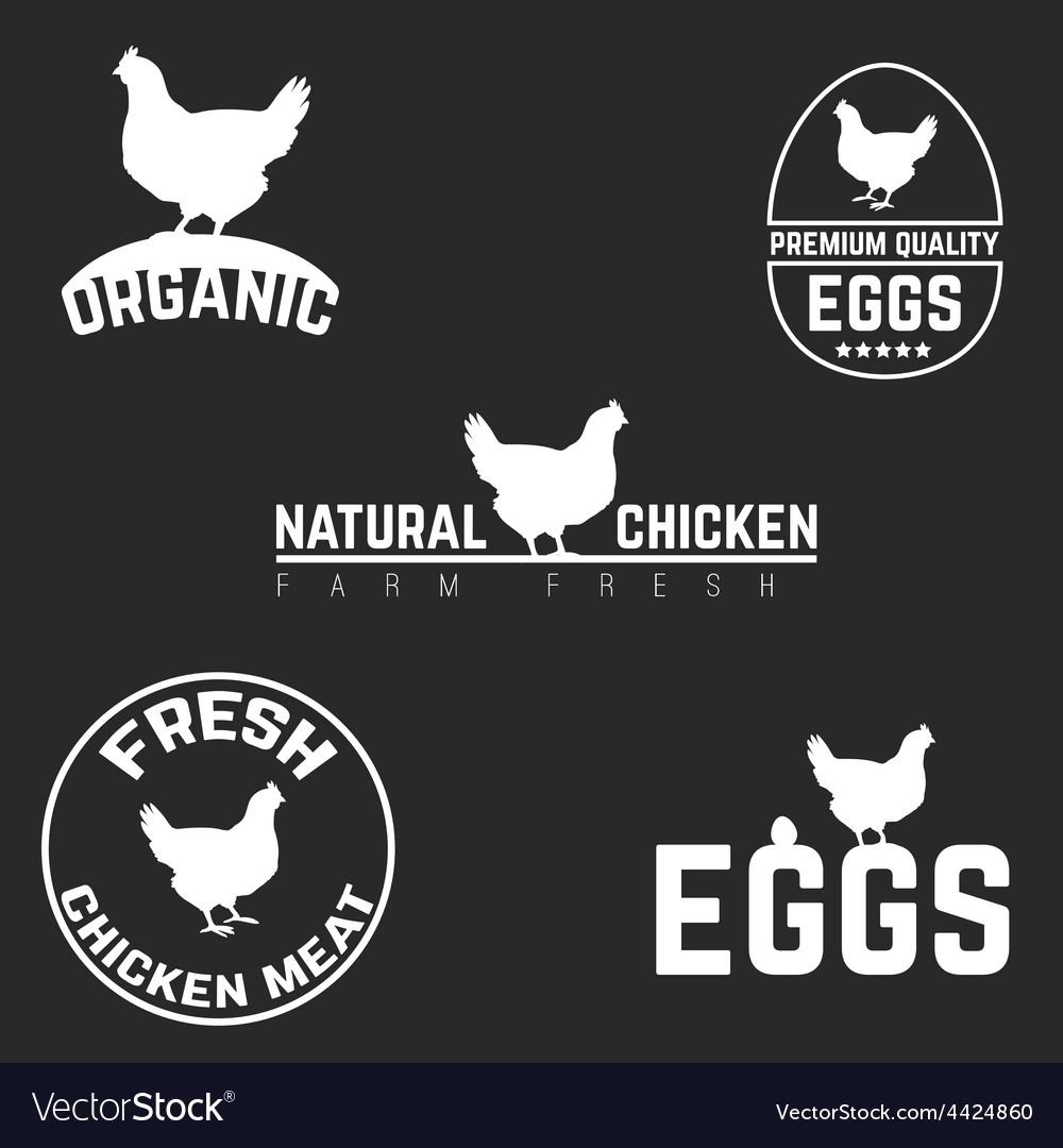 Set chicken and eggs logo emblem Natural fresh