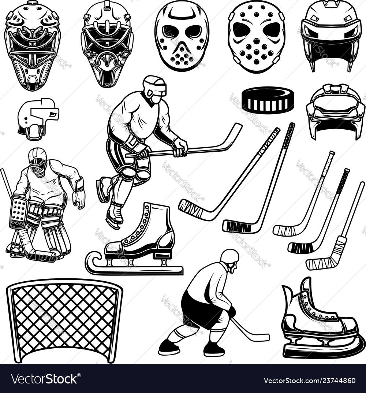 Set of hockey design elements players goalkeeper