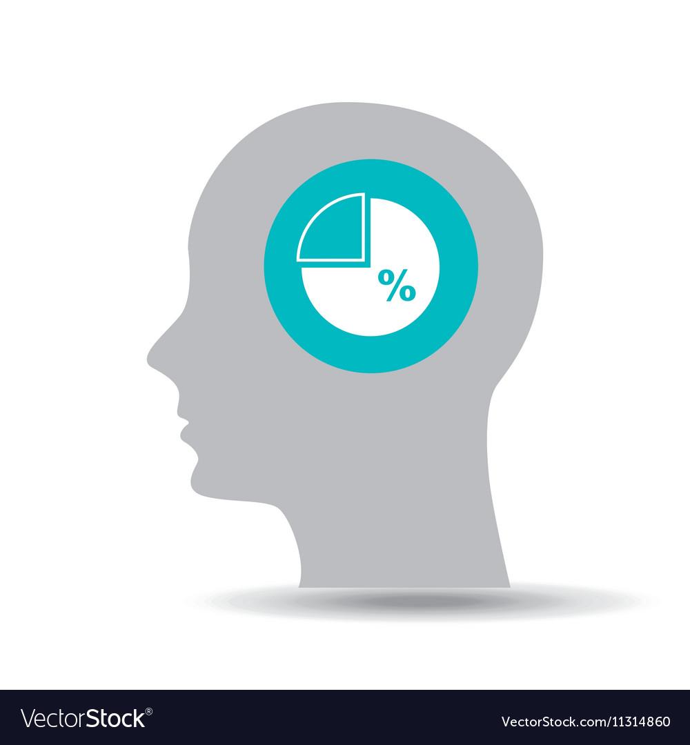 Silhouette head statistics percentage icon graphic