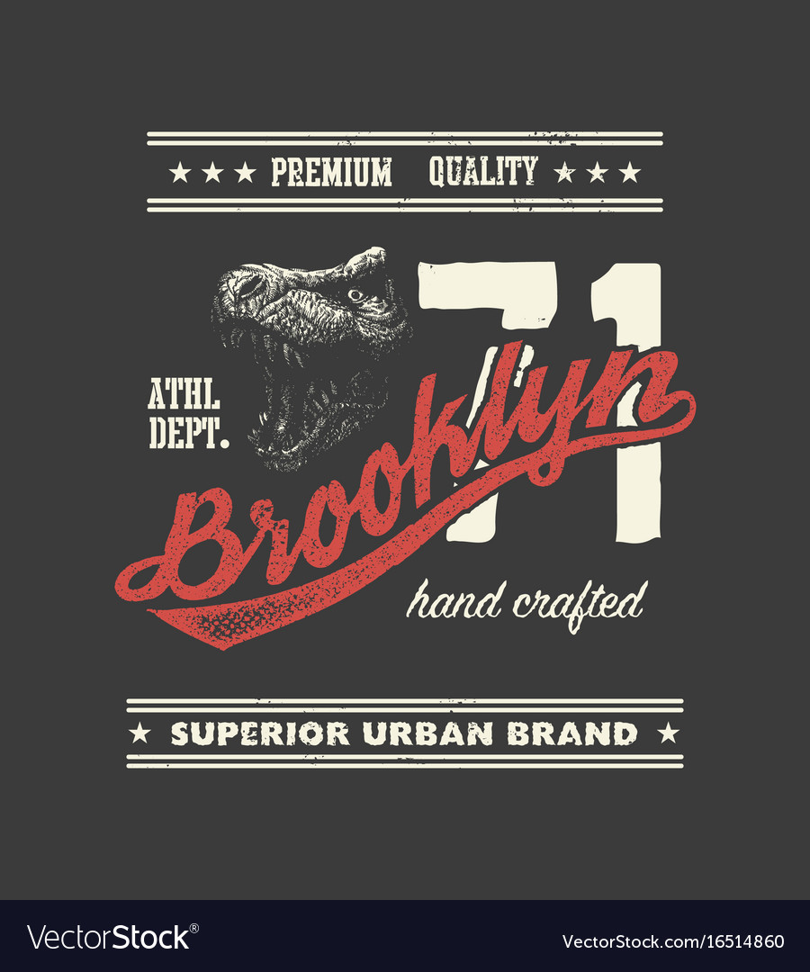 Vintage urban typography with tyrannosaurus head