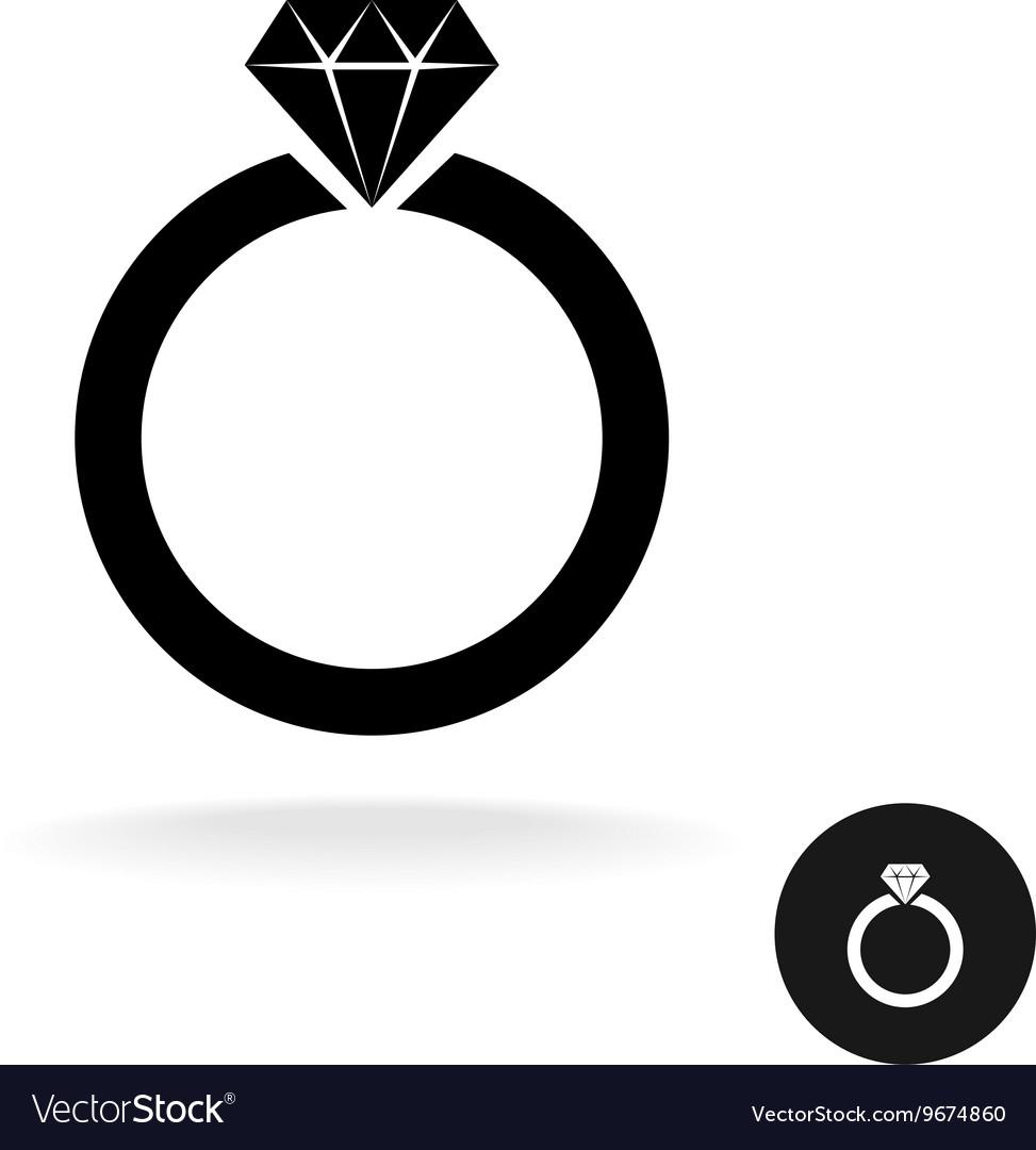 Wedding engagement ring simple black icon