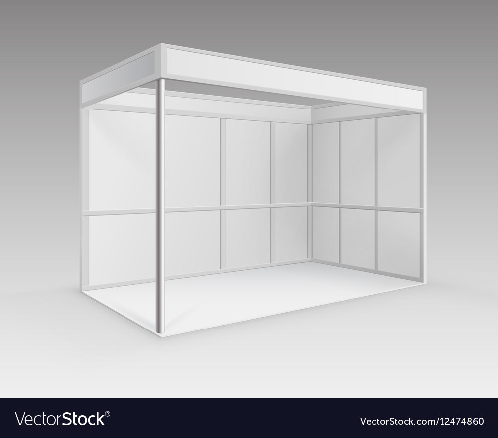 Exhibition Booth Mockup Free Download : White blank indoor trade exhibition booth stand vector image