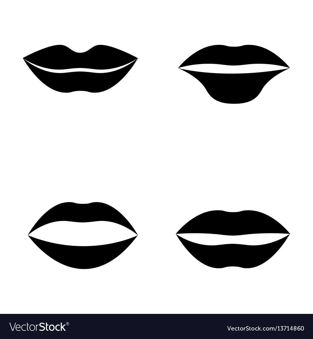 Women lips and mouth flat style icon set