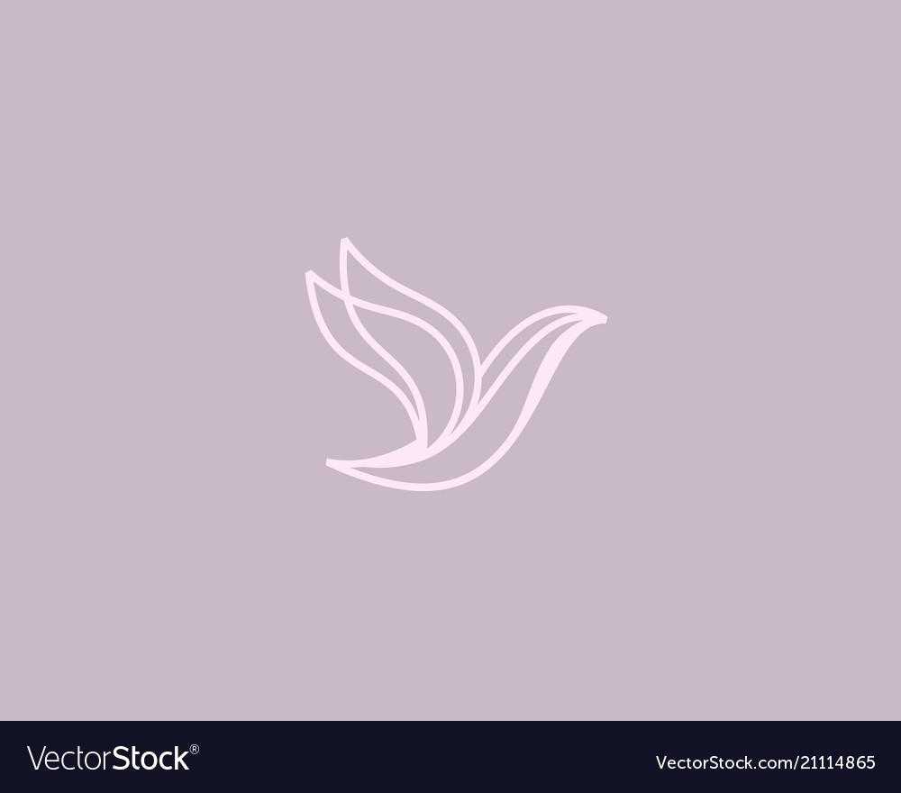 Abstract bird logo design premium linear dove