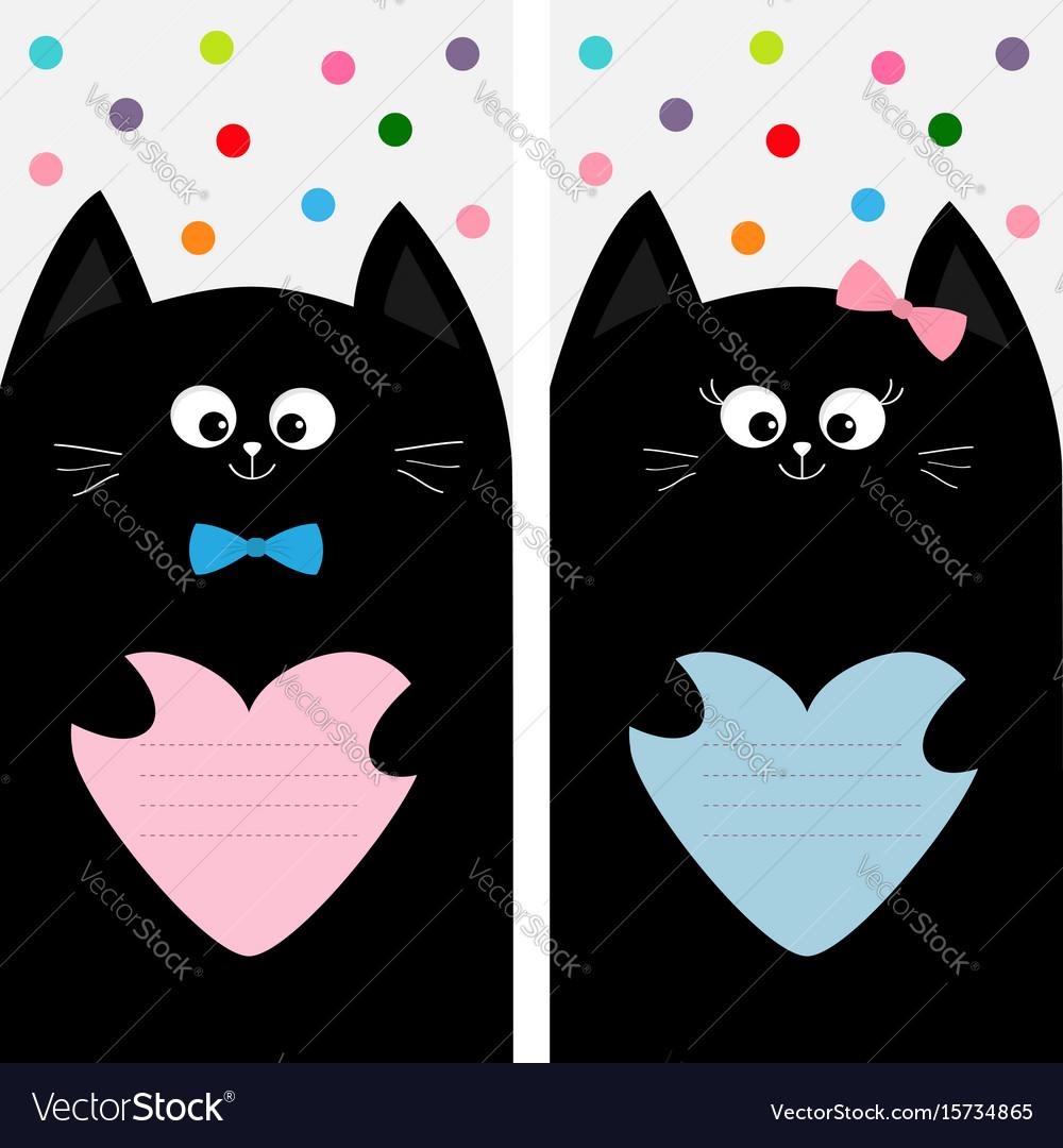 Black cat kitty family holding pink blue heart