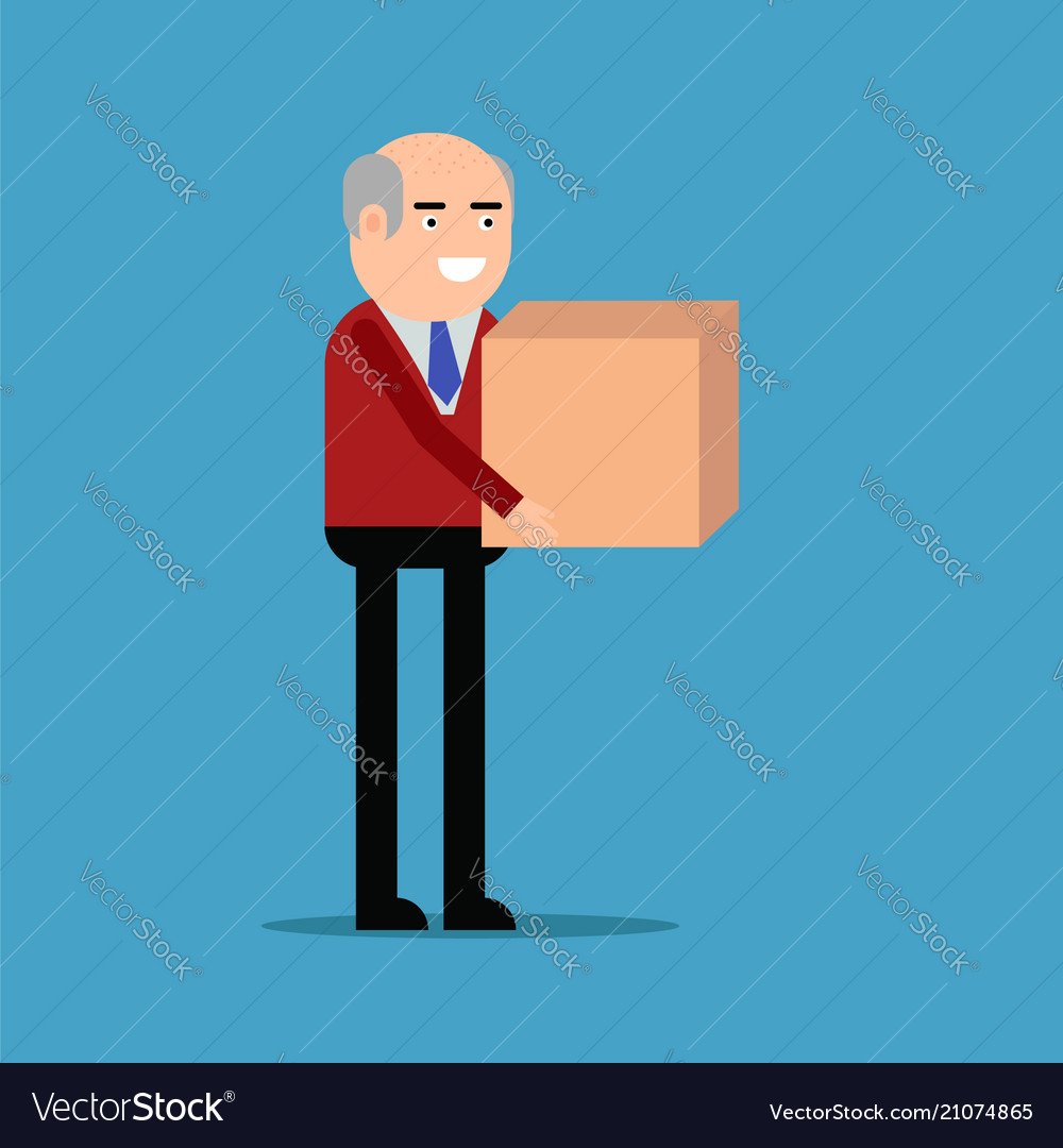 Businessman is carrying a box