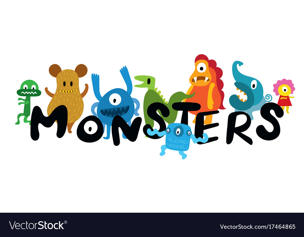Cute monsters cartoon characters