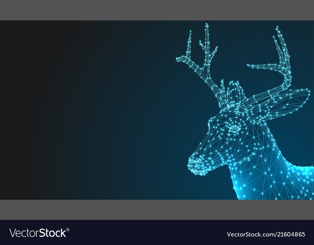 Deer head 3d animal abstract wirframe polygon