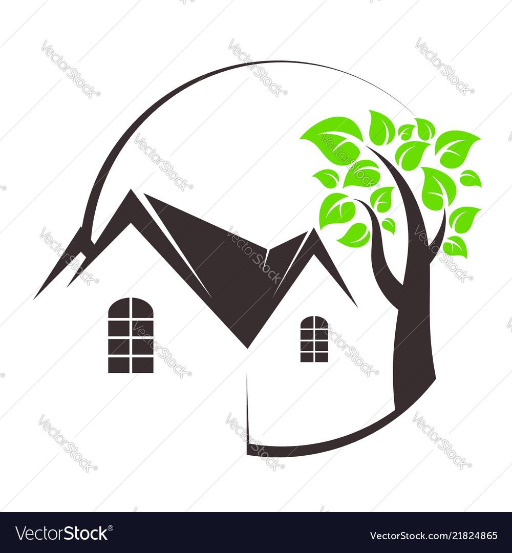 Eco house and tree