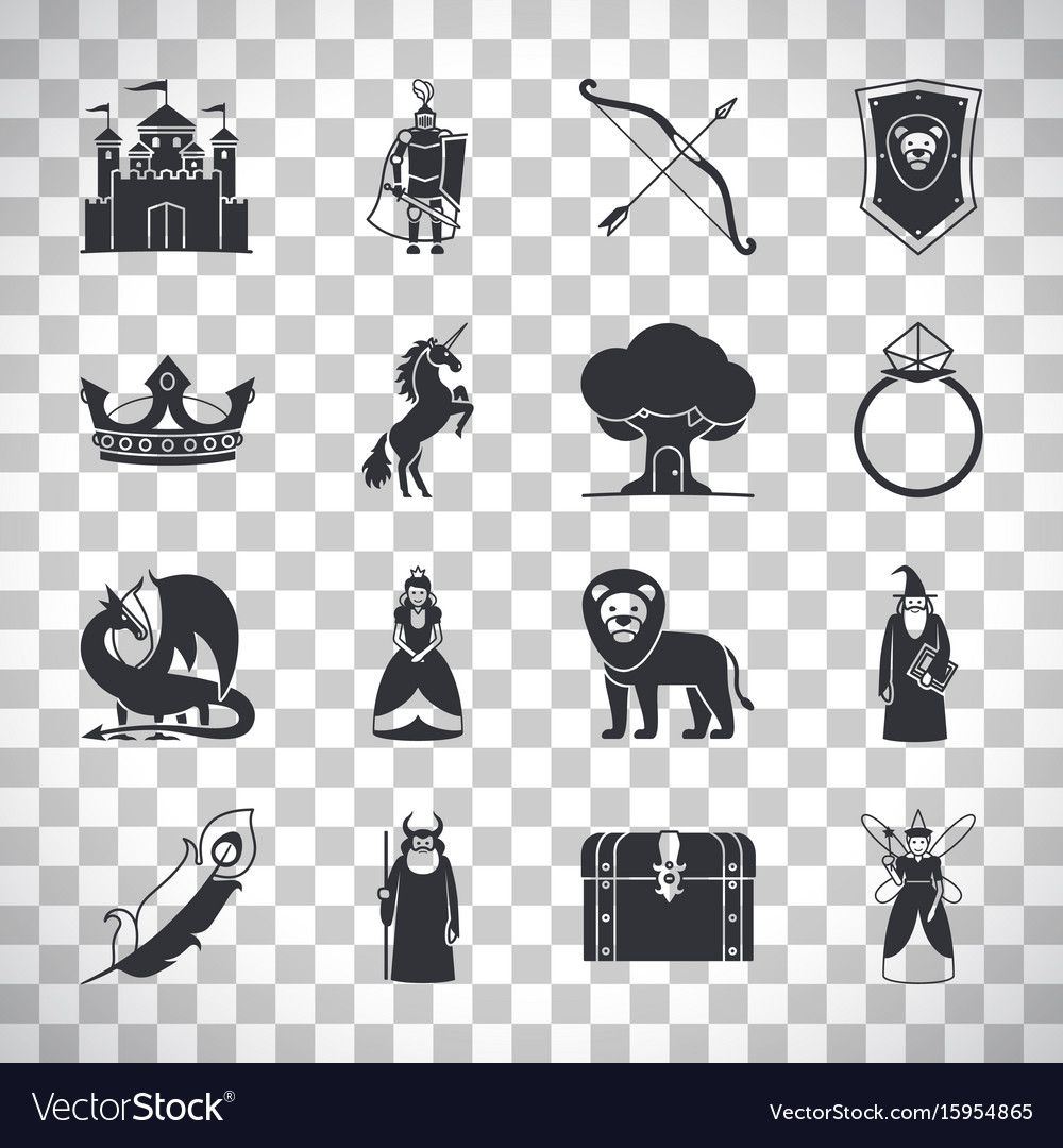 Fairytale icons on transparent background
