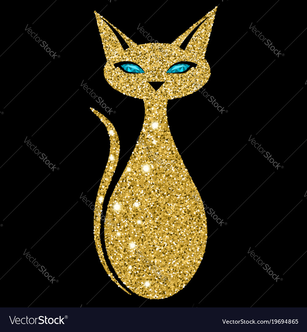 Golden cat with sapphire eyes