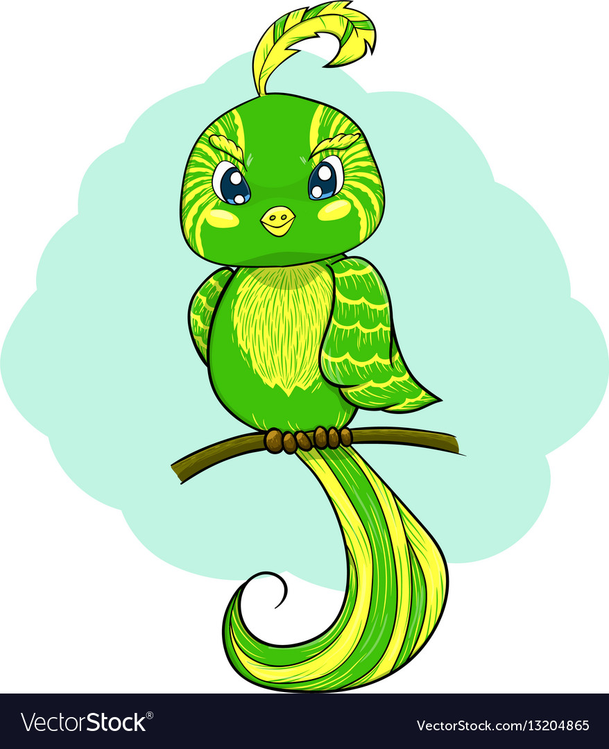 Green bird with tuft on stick vector image