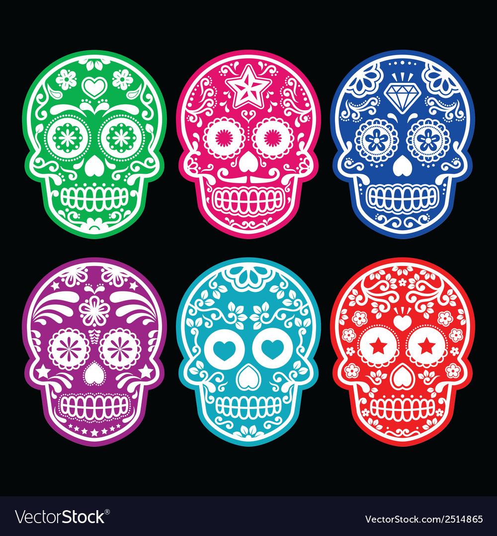 Mexican sugar skull icons set colour black bg