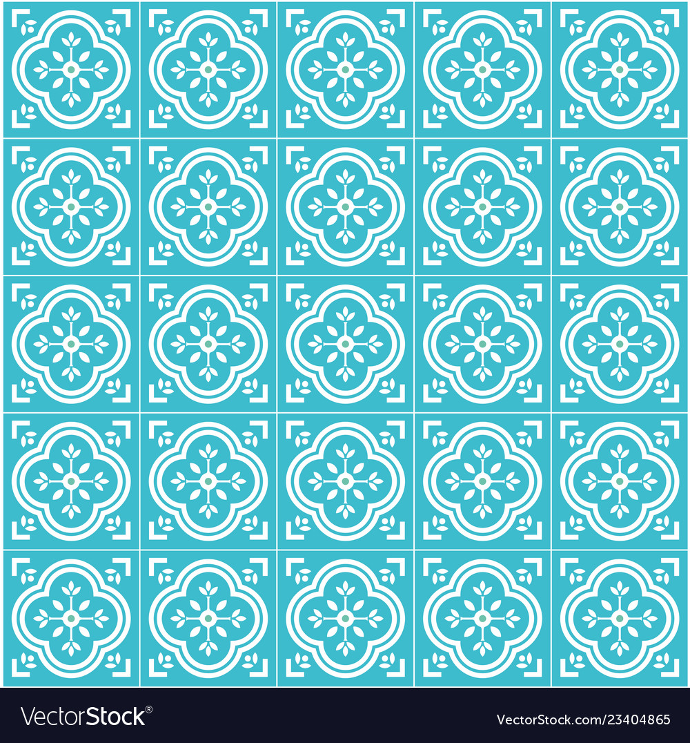 Portugal tile flat seamless pattern design