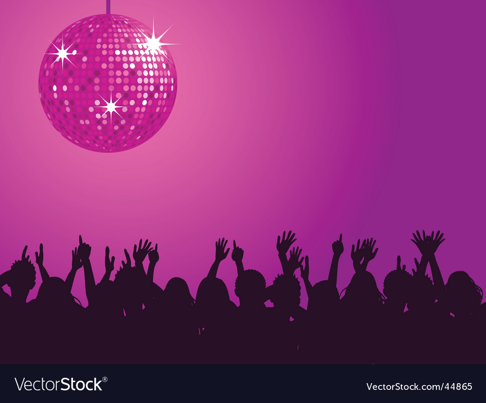Purple disco ball and crowd