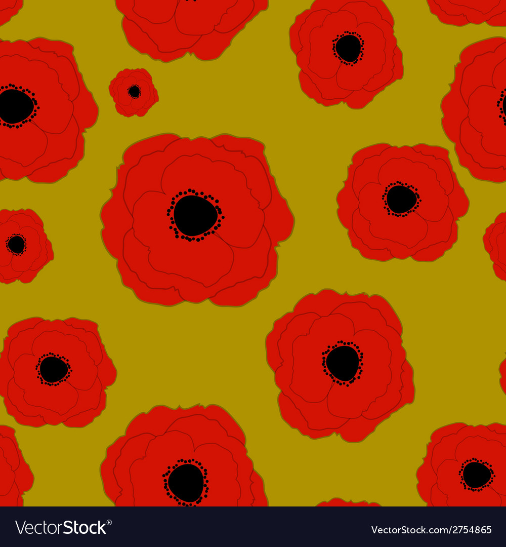 Red poppies flower seamless pattern background vector image mightylinksfo