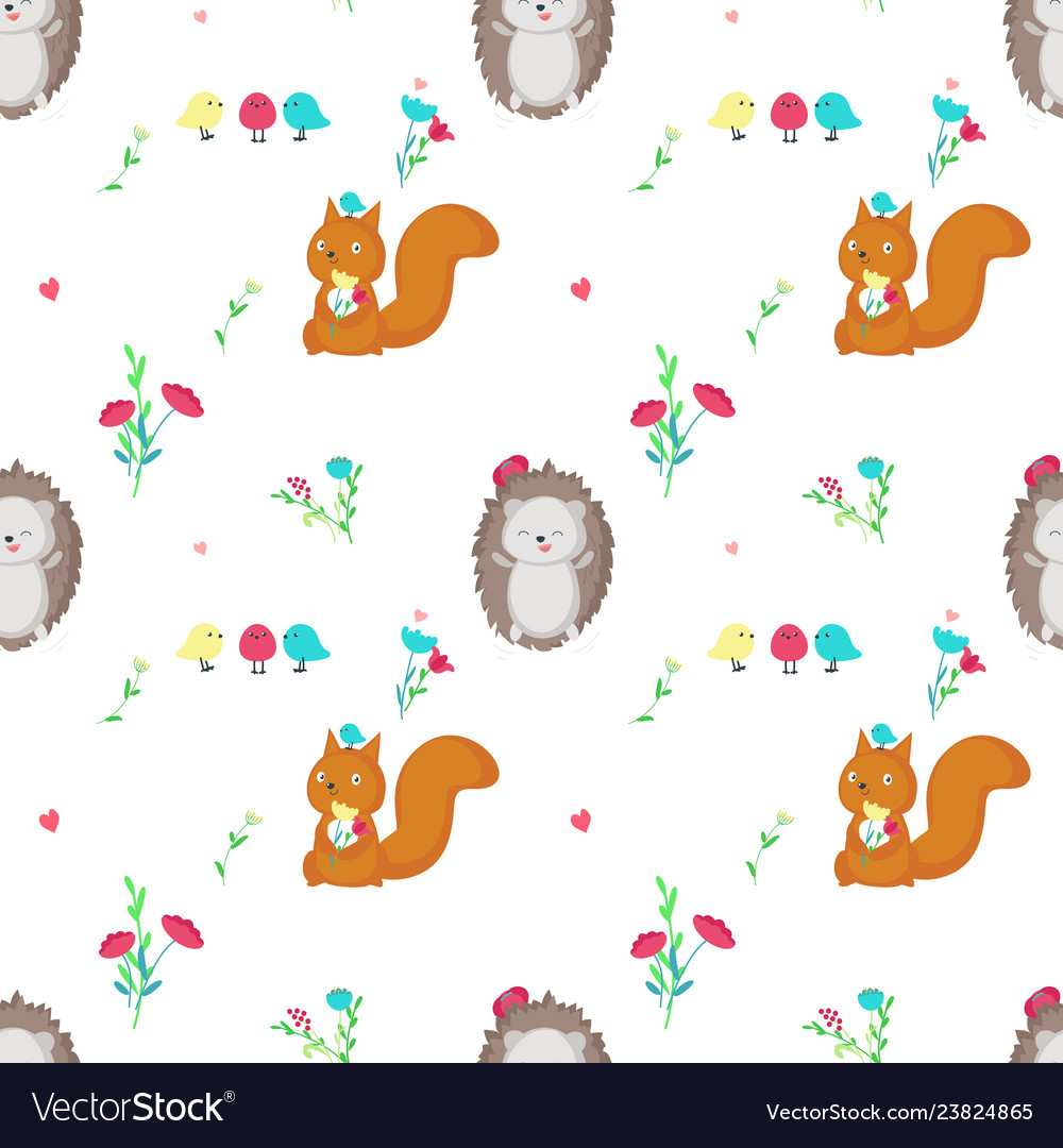 Seamless pattern with cute spring animals