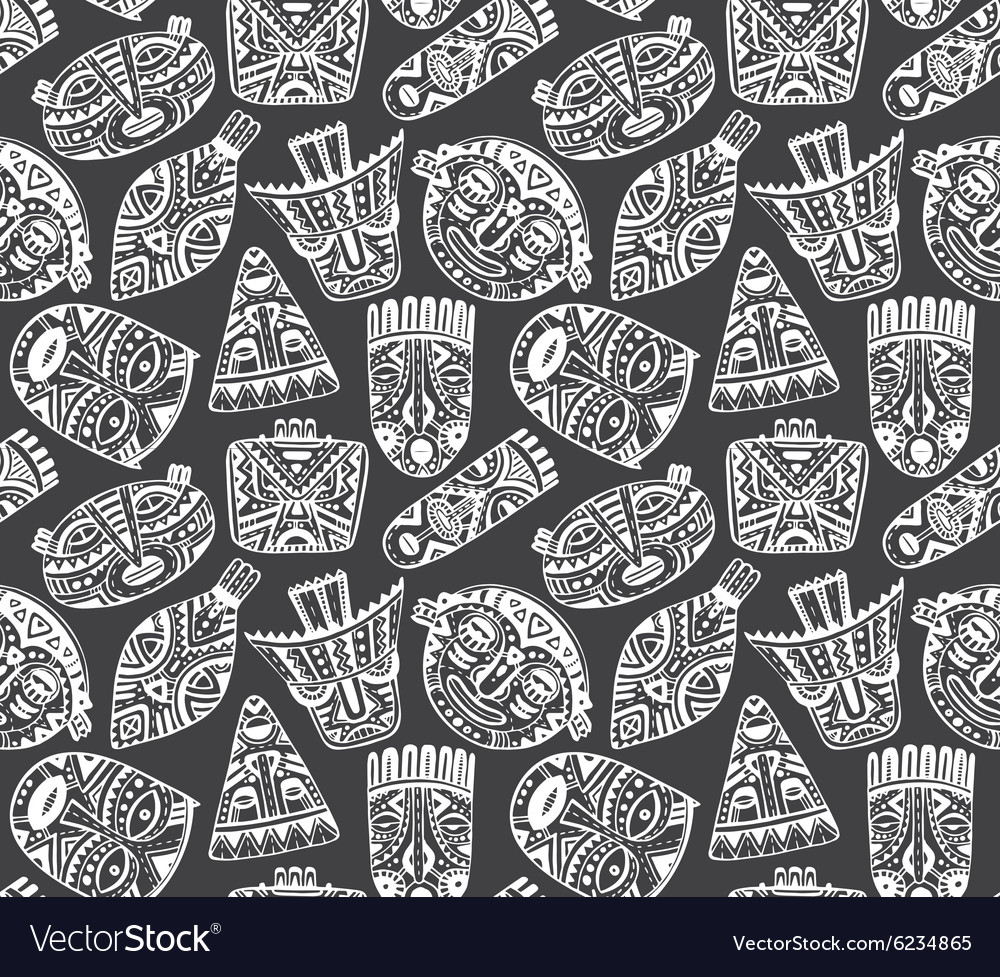 Seamless pattern with hand drawn fancy masks